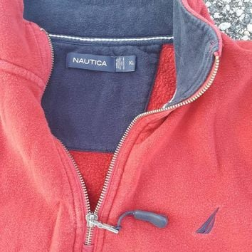 Vtg Nautica 1/4 Zip Red Hoody as XL w/ kangaroo pocket Sailing Jacket Preppy competition