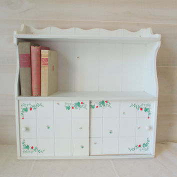 Shabby Chic Book Shelf, Wall Mounted Wood Cabinet, White Distres