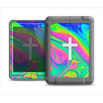 The Vector White Cross v2 over Neon Color Fushion V3 copy Apple iPad Air LifeProof Nuud Case Skin Set