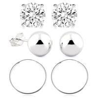 Sterling Silver Essential Ball and Hoop Earring Set