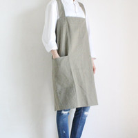 Linen Pinafore Apron,Light khaki