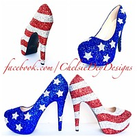 American Flag Stars and Stripes Sparkly Pumps