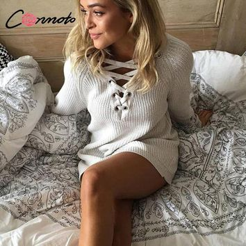 Conmoto Solid White Casual Sweater Lace Up Women Sweater Long Sleeve Autumn Winter Sweater Street Fashion