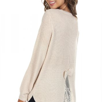 Bow & Lace Sweater Beige