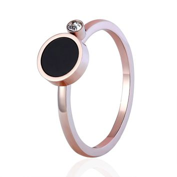 New Simple Design Crystal And Black Enamel Woman Rings Stainless Steel Ring For Women Rose Gold Colour Female Wedding Ring Band