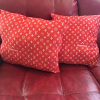 Lv x supreme red pillow