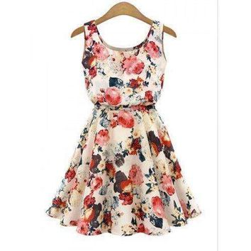 Scoop Neck Sleeveless Floral Print Wide Hem Chiffon Skater Dress - Apricot Xl