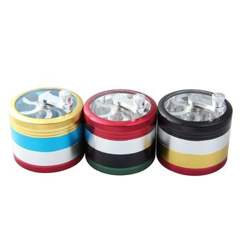 On- Pieces Colorful 4 Part Space Alloy Tobacco Grinder Herb Spice Pollen-Grinder Crusher Hand Crank 4.9 x 6.2cm Color at random