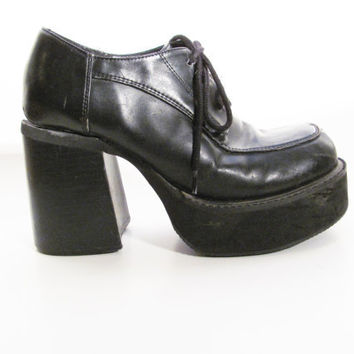 90s Super Chunky Platform Loafers - Goth - Chunky Shoes - Size 7