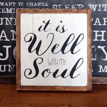 It is well with my soul, wood sign home decor rustic distressed Coffee Lovers signwall artpainted kitchen gift