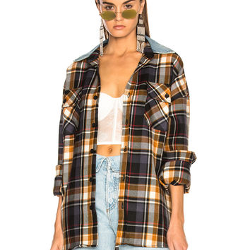 Fear of God Oversized Flannel Button Down Shirt in Purple Plaid | FWRD