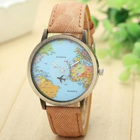 World map Plane Trip Pu leather brown band woman teen fashion travel watch