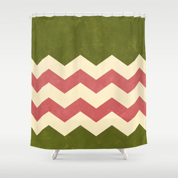 Olive Green, Rose and Cream Chevron Shower Curtain by Kat Mun | Society6