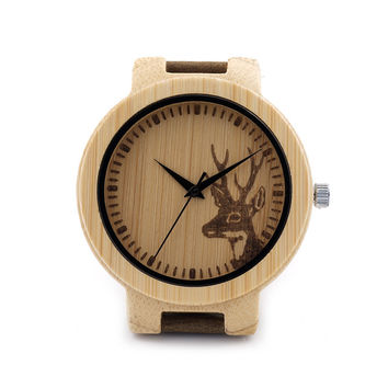 BOBO BIRD D14 Engraved Deer Wooden Watch Mens Quartz Japan Movement 2035 Wristwatch with Leather Strap in Gift Box
