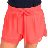 Tie It Up Neon Coral High Waisted Shorts | Monday Dress Boutique