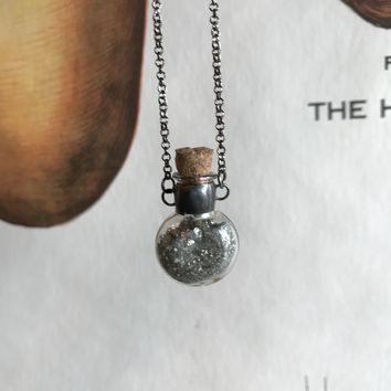 Pyrite Vial Necklace (long)