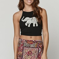 LA Hearts Elephant Cropped Goddess Tank - Womens Tee - Black