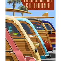 Laguna Beach, California - Woodies Lined Up Prints by Lantern Press at AllPosters.com