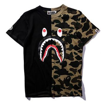 BAPE AAPE Trending Women Men Stylish Print Camouflage T-Shirt Top Blouse Black/Green