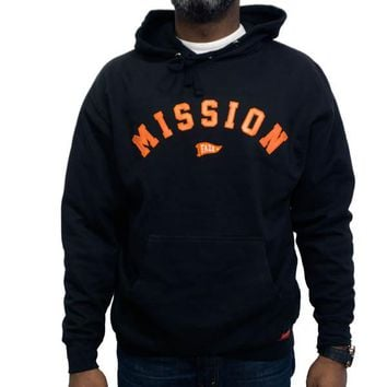 On A Mission Hoodie in black and orange