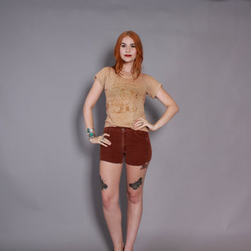 70s CORDUROY Cut-Off SHORTS / 1970s High Waisted Levi's Rusty Brown Cord Cut-Offs xs