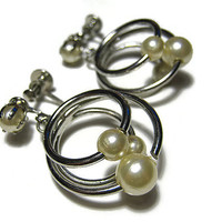 Vintage Faux Pearl Earrings Silver Tone Off White Golden Screw Back Hoop Dangle Drop Mid Century Womens Formal Jewerly