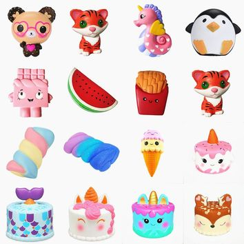 Squishy Slow Rising squeeze toy Narwhal Rose deer cake star deer teeth glasses bear watermelon banana ice cream octopus Cotton