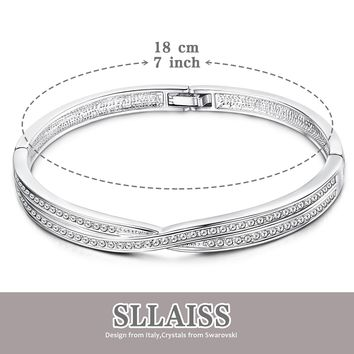 Sllaiss Swarovski Crystals Bangle Bracelets for Women Silver Tone Jewelry for Women Girlfriend Wife Daughter Sister Friend on Valentine's Day Birthday Anniversary