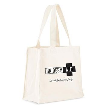 Personalized White Canvas Tote Bag - Bridesmaid Survival Kit Tote Bag with Gussets Black (Pack of 1)