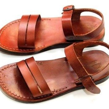 Unisex Adults/Children Genuine Leather Biblical Sandals / Flip flops (Jesus - Yashua) Samaria Style I - Holy Land Market Camel Trademark