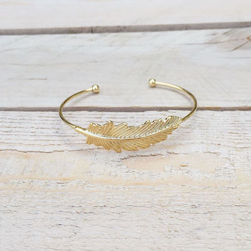 Gold Armor Feather Bangle Bracelet