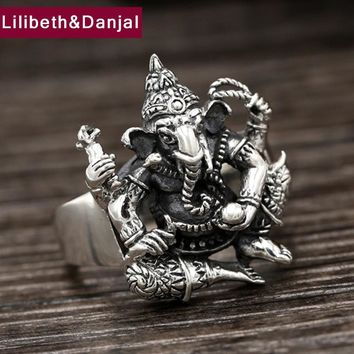 Men Vintage Ring 100% Real 925 sterling silver Indian elephant gods ring Gift Women fine jewelry 2017 New Arrival R49
