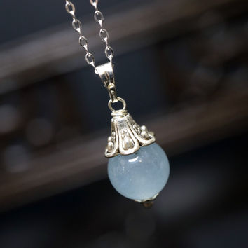 Blue Chalcedony Necklace Silver   Tiny  Sterling Silver Chalcedony Pendant  Bridesmaid Jewelry