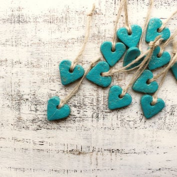 Boho gift tags heart napkin holders place card tags wedding favors mint turquoise guest favors bridal shower bohemian wedding rustic wedding