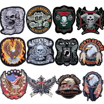 Eagle Skull Punk Biker Patches Motorcycle Embroided Big Patch Iron on Rock Stripe Clothes Badges for Clothes Fabric Stickers