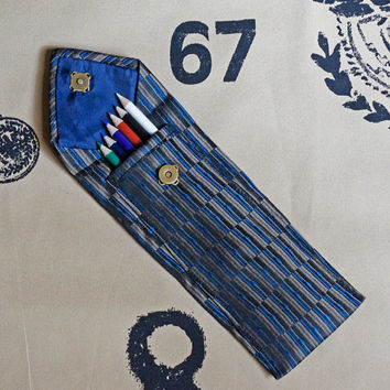 HALF PRICE SALE!  Pencil Case fashioned from an upcycled necktie - Back To School College Student