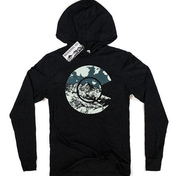 Colorado Hoodie Tee - Charcoal Black