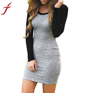Fashion Autumn Winter Dress Women Splice Color Long Sleeve Bodycon Evening Party knitting Patchwork Mini Club Dress vestidos