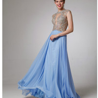 Periwinkle Blue Embellished Bodice Chiffon Gown 2015 Prom Dresses