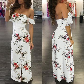 OffShoulder Floral White Long Dress