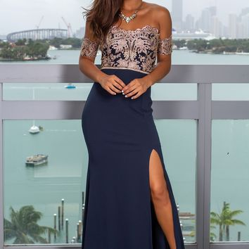 b740f7d94 Navy Embroidered Off Shoulder Maxi Dress with Jewel Detail