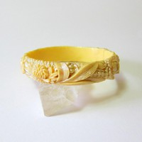 Mid Century Pearly Celluloid Floral Bangle Made in Japan