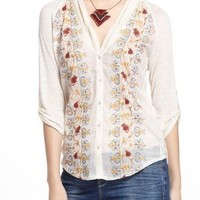 Tiny Naima Embroidered Buttondown in Ivory Size: M Tops