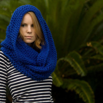 Oversized Hooded Infinity Scarf, Blue Chunky Cowl, Christmas in July sale, CIJ