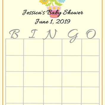 10 Cute Floral Baby Shower Bingo Cards