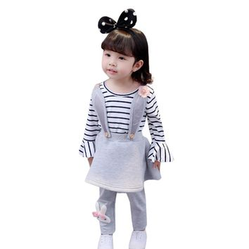 MUQGEW Cute Toddler Baby Girl Kids Prom Dresses Stripe Rabbit Flower Long Sleeve Princess Strap Dress Girl Dresses Vestido QZ06