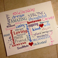 Custom Canvas -FREE SHIPPING- 16x20 word art, for mom, for Her, for him, birthday, anniversary, Holiday Gifts