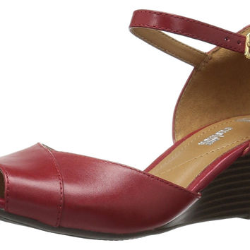 Clarks Women's Brielle Dacy Wedge Sandal Red Leather 9.5 B(M) US '
