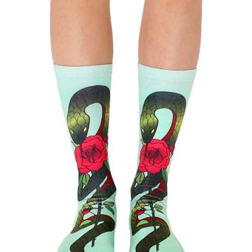 Snake With Rose Crew Socks