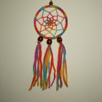 3 inch Rainbow Dream Catcher - Wallhanging Home Decor - Hippie Dreamcatcher - Car Rear View Mirror Ornament - Bohemian Wall Decoration
